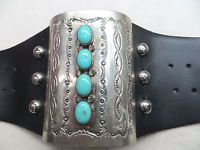 VINTAGE NAVAJO INDIAN SILVER? KETOH BOW GUARD TURQUOISE CABS LEATHER BRACELET