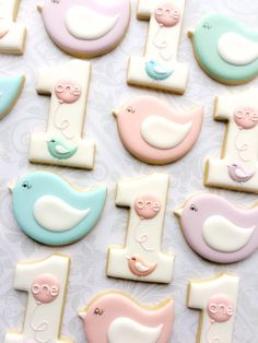 First birthday Number 1 pastel birds and Pink Balloons - One Dozen Decorated Sugar Cookies