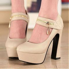 Welcome to Cupids Magic Potion Boutique for personal and intimate gifts Cupid's Sweetie-Shoes Beautiful PU Zipper Apricot Round Closed Toe Chunky Super High Heel Mary Jane Pumps http://www.cupidsmagicpotion.com/sweetie-shoes/