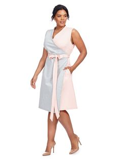 Society+ | Colorblock Wrap Dress In Grey And Pink | Gwynnie Bee
