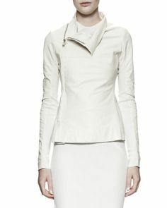 Zipped Leather/Knit Turtleneck Jacket, Milk White by Rick Owens at Bergdorf Goodman.