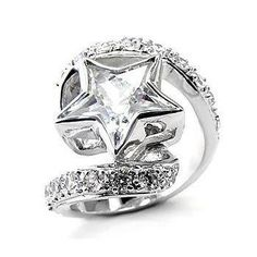 Women's #Fashion #Jewelry: Fantasy Jewelry Box Womens Aliza's Exquisite Sterling Silver Cubic Zirconia Star Ring: Rings.  $23.97