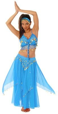 3-Piece Belly Dancer Costume - TURQUOISE / GOLD. totally want