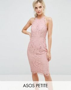 ASOS PETITE Scallop Pinny Lace Pencil Midi Dress