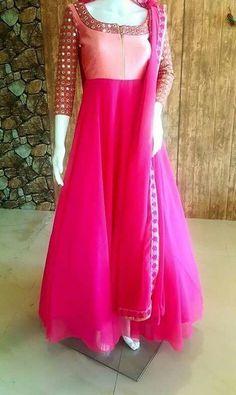 FatimaBi Plus size Dress Mirror work Anarkali Kameez Engagement Pink Salwar Suit #FatimaBi #AnarkaliKameez