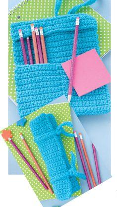 Roll-Up Holder for Your Hooks or Pencils. Easy crochet pattern for kids!