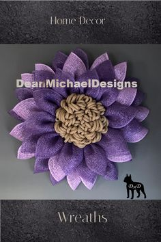 Shades of deep purple and lavender make this wreath stand out. Original by DeanMichaelDesigns. This wreath measures about 23 inches in diameter and 4-5 inches deep. Wreath for front door. Wall art. Home decor. Interior design. Exterior design. Email DeanMichaelDesigns@gmail.com for additional information. #wreath #homedecor #handmade #etsy