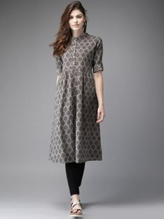 Buy Moda Rapido Women Grey & White Printed A Line Kurta - Kurtas for Women from Moda Rapido at Rs. Simple Kurta Designs, Stylish Dress Designs, Kurta Designs Women, Designs For Dresses, Stylish Dresses, Churidar Designs, Kurti Neck Designs, Kurti Designs Party Wear, Blouse Designs