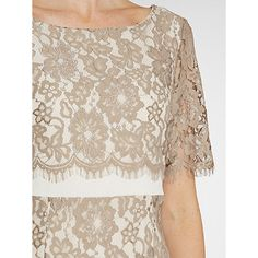 Buy Gina Bacconi Scallop Flower Lace On Crepe Maxi Dress, Beige Online at johnlewis.com