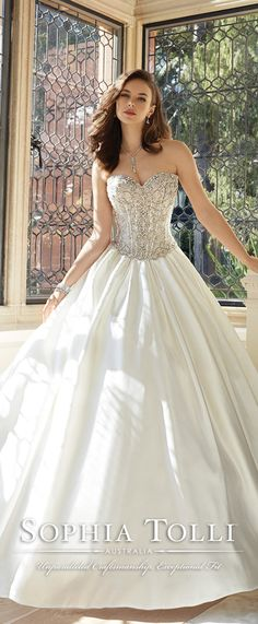sophia tolli strapless sweetheart majestic satin ball gown wedding dresses spring 2016 Y11627