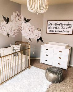 ideas for baby girl room gold cribs Baby Bedroom, Baby Room Decor, Gold Baby Nursery, Gold Nursery Decor, Baby Nursery Ideas For Girl, Nursery Room Ideas, Girl Nursery Colors, Budget Nursery, Nursery Dresser