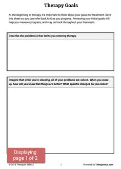 Developing treatment goals at the start of therapy can improve client retention, set a direction for future sessions, and help your clients begin to envision their desired outcomes. We've created the Therapy Goals worksheet to help your clients think about, and verbalize, their hopes for therapy.