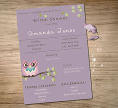 PRINTABLE Bridal Shower Invite  Owl Custom JPEG by KTsARTsDESIGNs, $5.00