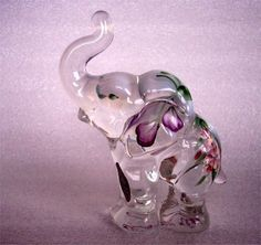 Fenton, 5158 AZ Standing French Opalescent Hand painted elephant one of my FAVORITES!