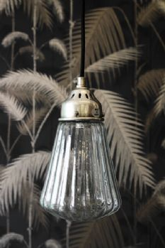 Ribbed Glass Ceiling Light from Rockett St George.I'm in love with this light.so elegant Glass Ceiling Lights, Ceiling Pendant, Wall Lights, Ceiling Rose, Industrial Chandelier, Chandelier Lighting, Chandeliers, Lights Fantastic, Interior Lighting