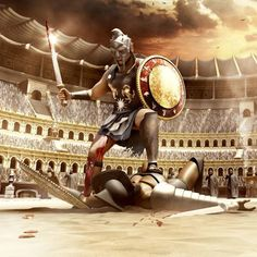 "Don't let troubles make you feel like you are in a Colosseum with a gladiator! SHORT READ: ""Slay the Gladiator Gladiator Games, Gladiator Arena, Gladiator Tattoo, Gladiator Fights, Fighting Tattoo, Roman Gladiators, Spartan Tattoo, Fighting Poses, Spartan Warrior"