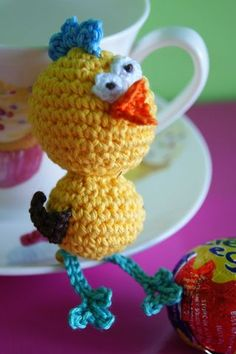 Crazy Amigurumi Chick  - hide him in a plastic egg or an Easter basket. Free pattern