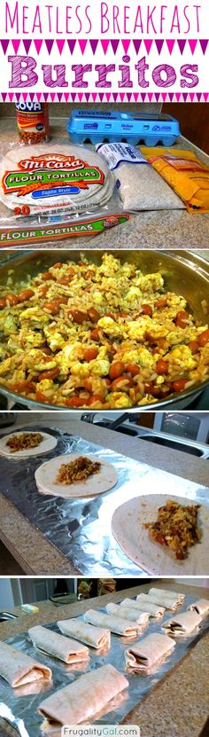 Freezer cooking: Meatless breakfast burritos. Tasty, filling and cheap! Only five ingredients.