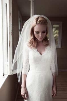 Little Something Wedding Veil w/ a Blusher, Double Layer Bridal Illusion Tulle or English Net