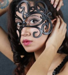 Leather Mask in Black Swirly by TomBanwell on Etsy, $39.00