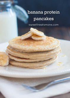 Banana Protein Pancakes on sweettreatsmore.com #healthy #breakfast #recipe