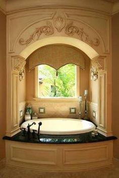 On-line DIY help for interior design questions.  Just message me. #Bathroom Design. Beautiful, creative, unique! Orlando Designer.  Wood trim surround archway. SusanBerryDesign.com