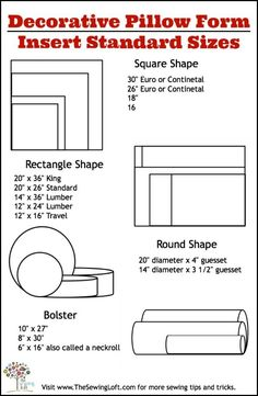 Have you noticed how expensive pillow forms are? Heather at The Sewing Loft shows how to make your own in 4 easy steps. She also gives a chart with dimensions for standard pillow form sizes. Sewing Pillows, Diy Pillows, Decorative Pillows, Cushions, Pillow Ideas, Throw Pillows, Sewing Hacks, Sewing Tutorials, Sewing Patterns