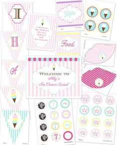 Vintage Ice Cream Shoppe...Printable Personalized Birthday Party Package...DIY....by DimplePrints