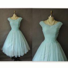 Chiffon Dress - Vintage Pleated Blue Chiffon Prom Wedding Party Dress via Etsy. Blue Chiffon Dresses, Coral Dress, 50s Dresses, Vintage Dresses, Vintage Outfits, Fall Dresses, Long Dresses, Formal Dresses, Vintage Clothing