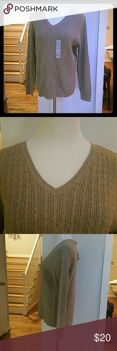 NWT KAREN SCOTT SWEATER NWT Karen Scott Long-Sleeve V-Neck Cable-Knit Sweater  Materials : 100% COTTON Karen Scott Sweaters V-Necks