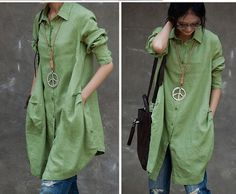 Loose Fitting Linen Long Shirt Blouse for Women - Light Green -Long Sleeved Women Spring Dress