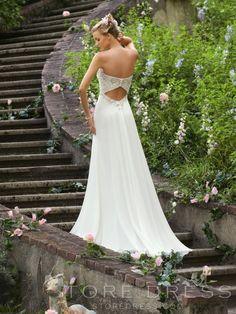 A-line Empire Waist Sweetheart Beading Sequins Chiffon Wedding Dress - Storedress.com