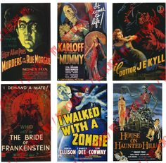 Retro Horror Movie Posters Halloween Special 18 par RetropolisPix... What great party decor! I love using posters, they are easy & fairly inexpensive.