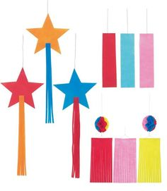 Set Of The Star Festival, Tanabata Paper Decorations. Star Festival, Tanabata, Child Day, Paper Decorations, Birthday Celebration, Special Events, 4th Of July, Origami, Diy And Crafts