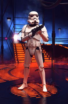 Poster illustration of a Stormtrooper standing guard in the Carbon-freezing chamber on Bespin in The Empire Strikes Back.