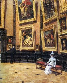 """In the Louvre""  by  Louis Beroud (1899)"