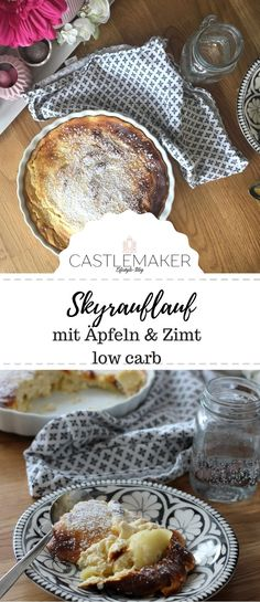 Delicious casserole with skyr, apples and cinnamon. The Skyrauflauf is delicious, easy . - Delicious casserole with skyr, apples and cinnamon. The Skyrauflauf is delicious, simple and a grea - Casserole Recipes, Meat Recipes, Low Carb Recipes, Healthy Recipes, Low Carb Desserts, Dessert Recipes, Pumpkin Dishes, Apple Chicken, Farro Salad