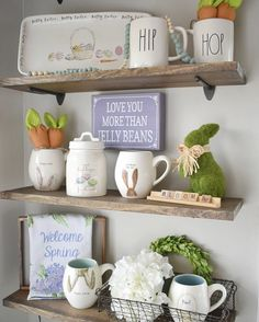 Farmhouse home decor I love the shelves and everythibng on them! #DIYHomeDecorSpring