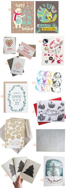 1. Screenprinted Holiday Cards by Allison Cole    2. 2013 Holiday Cards by Fair Morning Blue    3. Ornaments by Red Cap Cards    4. Rainbow Santa Cards by Love Love Me Do    5. Comfort and Joy by Maple and Belmont    6. Christmas Cards by Zoe Tilley Poster    7. Merry Everything & …