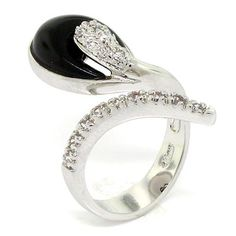 Lovely By-pass Cocktail Ring w/Black Onyx and White CZs -- Additional details at the pin image, click it  : Jewelry Ring Statement