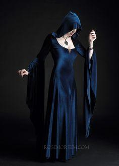 Aislinn Hooded Gown Faerie Cloak in Velvet - Custom Elegant Gothic Clothing. $269.00, via Etsy.