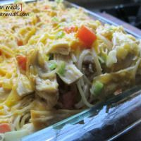 po' man meals - baked cream cheese chicken spaghetti (use GF pasta)