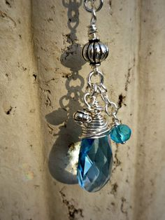 Swarovski Aquamarine Crystal Pear Sterling Silver Wire Wrapped Necklace, $32