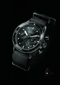 Blancpain Fifty Fathoms Bathyscaphe Flyback Chronographe. #allblack #allblackwatches #NatoStraps #military #militarywatches