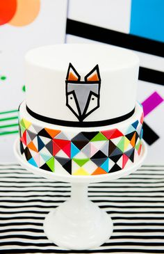 Scandinavian fox cake - quirky, bold colors & lots of geometric shapes