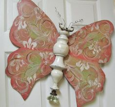 Table Leg Butterfly Wall Art Pink Parisian by LucyDesignsonline, $88.00