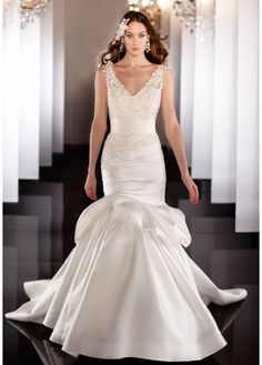 Gorgeous Lace  Satin Trumpet V-neck Neckline Wedding Dress