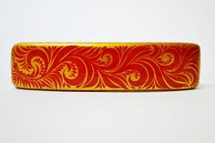Hair Barrette Hand painted Wooden Hair Clip Russian style Khokhloma Painting. Made to order.