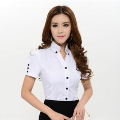 New Arrival 2014 Spring Summer Fashion White Blouses Women Shirts Short Sleeve Formal Ladies Plus Size Work Blouse Female White Short Sleeve Blouse, Mode Plus, Plus Size Shirts, Summer Blouses, Formal Shirts, Womens Fashion For Work, Short Outfits, Spring Summer Fashion, Blouse Designs
