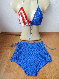 Crochet bikini top and high waist bottom set in by Pomcloset